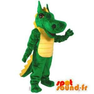 マスコットの緑と黄色の恐竜。クロコダイルコスチューム