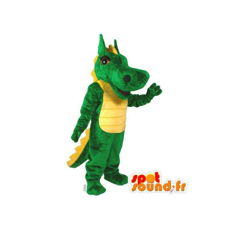 Mascot green and yellow dinosaur. Crocodile costume - MASFR006918 - Mascot of crocodiles