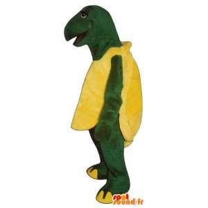 Mascot tortuga gigante de color amarillo y verde