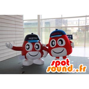 2 Mascotte Techy a Fujitech, l'uomo rotondo, rosso e bianco - MASFR26368 - Yuru-Chara mascotte giapponese