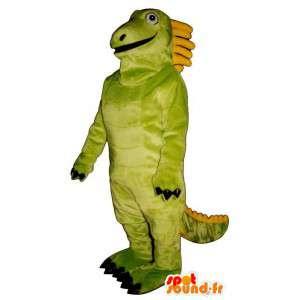 Grön och gul dinosaurie maskot, jätte. Dragon kostym -