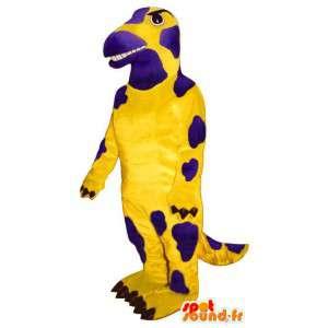 Mascotte de salamandre jaune et violette. Costume d'iguane