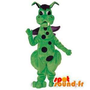 Vihreä ja violetti lohikäärme maskotti herneet - Muokattavat Costume - MASFR006923 - Dragon Mascot