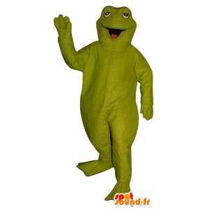 巨大な緑色のカエルマスコット。カエルスーツ