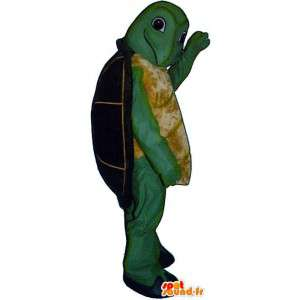 Zielonym i żółtym żółwia maskotka z czarnej powłoki