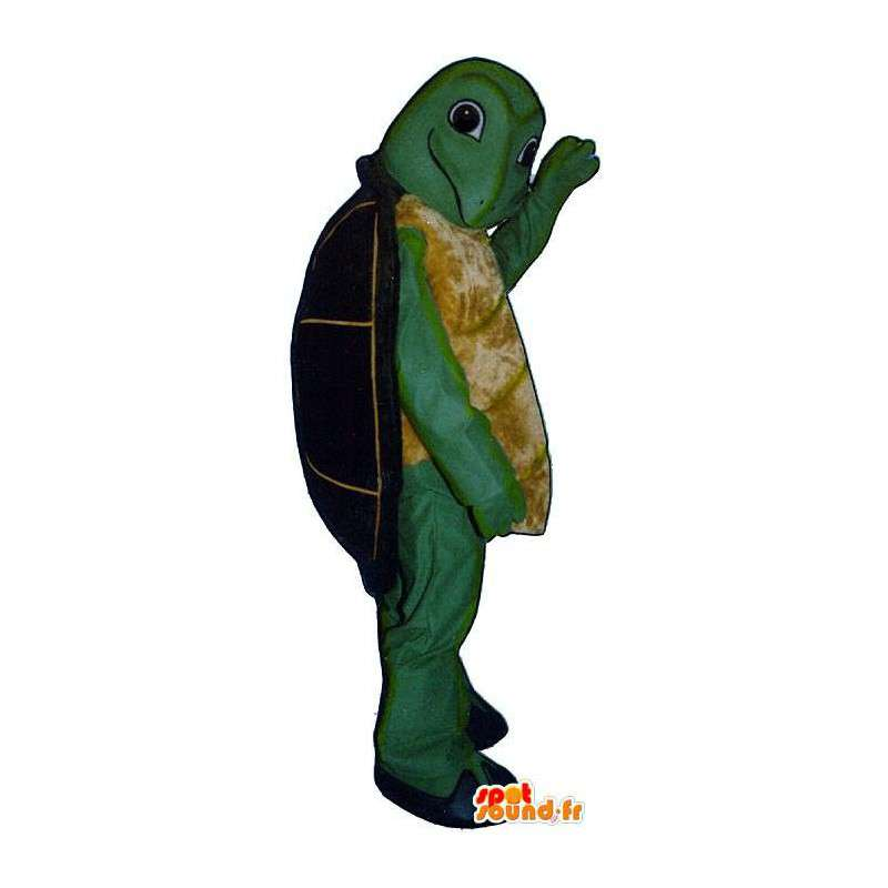 Mascot green and yellow with a black turtle shell - MASFR006926 - Mascots turtle