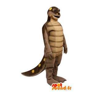 Brown Dinosaurier-Maskottchen gelbe Erbsen - MASFR006927 - Maskottchen-Dinosaurier