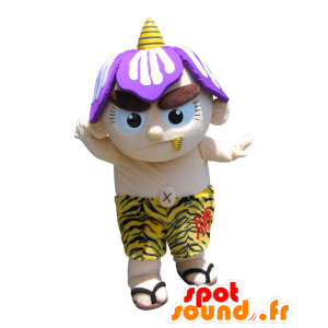 Beige mascotte pupazzo di neve, con un casco viola, un soriano breve - MASFR26409 - Yuru-Chara mascotte giapponese