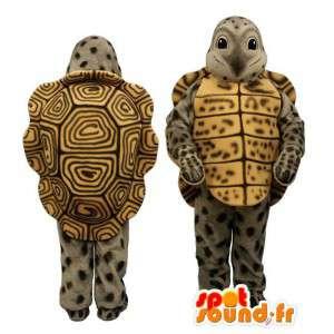 Mascotte de tortue grise, jaune et marron