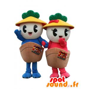 2 mascotte Kasamaru Kun e Kasamaru chan, barche - MASFR26444 - Yuru-Chara mascotte giapponese