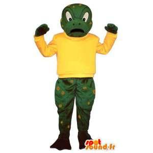 Kikker mascotte boos, groen en geel