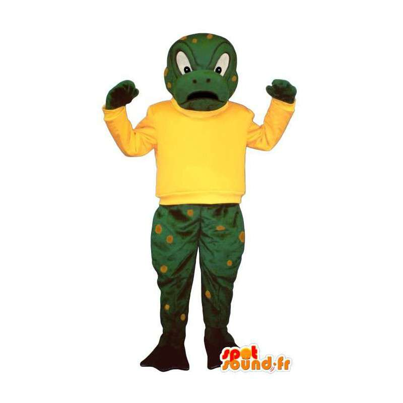 Mascot frog angry, green and yellow - MASFR006932 - Mascots frog