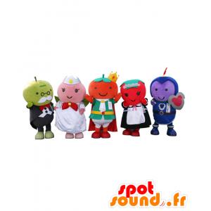 Cinque mascotte del regno di frutta, frutta 5 abiti colorati - MASFR26470 - Yuru-Chara mascotte giapponese