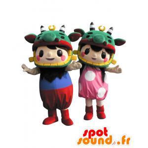 2 mascotte di bambini in abiti colorati e cappello drago - MASFR26496 - Yuru-Chara mascotte giapponese