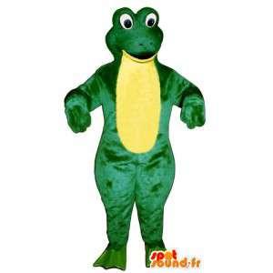 Mascot reuze kikker, groen en geel