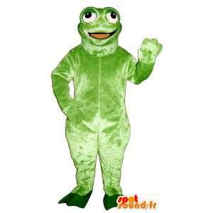 Mascotte de grenouille verte souriante et rigolote