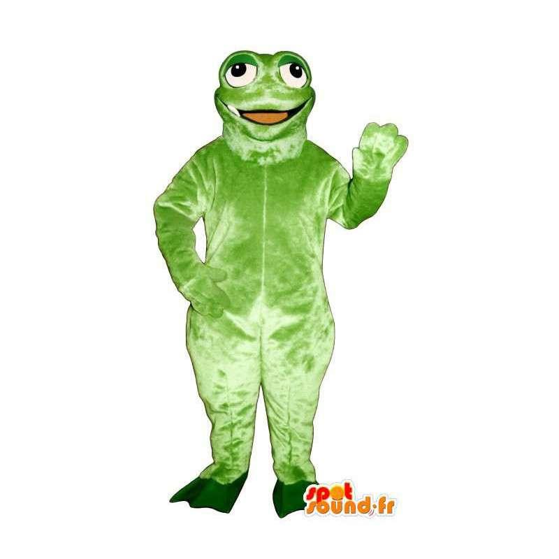 Green frog mascot smiling and funny - MASFR006943 - Mascots frog