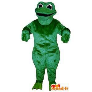 Mascotte de grenouille verte malicieuse et souriante