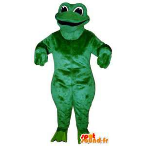 Maskotti ilkeä ja hymyilevä vihreä sammakko