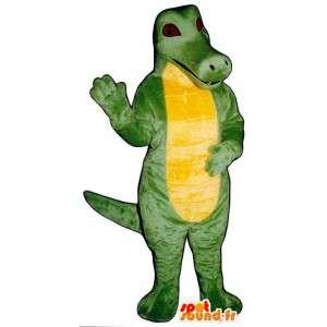 Vermommen groen en geel krokodil. krokodilkostuum