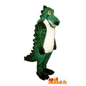 Mascotte de crocodile vert et blanc - Costume personnalisable