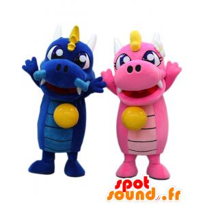 2 mascotte draghi, rosa e blu Tosa - MASFR26604 - Yuru-Chara mascotte giapponese