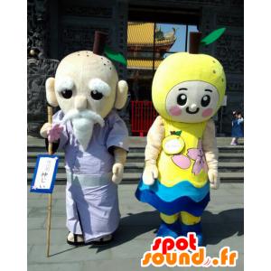 2 mascotte, un vecchio e una mela gialla - MASFR26609 - Yuru-Chara mascotte giapponese