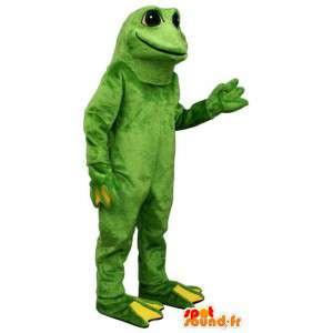 緑と黄色のカエルのマスコット。カエルスーツ
