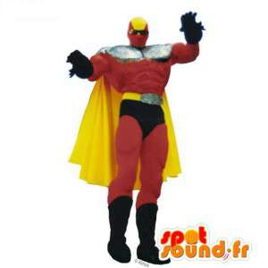 Mascote super-herói vermelho, amarelo e preto - MASFR006952 - super-herói mascote