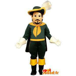 マスコットの緑と黄色の銃士。時代衣装-MASFR006957-兵士のマスコット