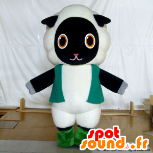 Fluffy mascotte, pecora in bianco e nero, dolce e carino - MASFR26748 - Yuru-Chara mascotte giapponese
