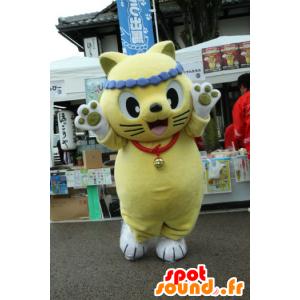 Nyantaro mascotte, giallo e bianco gatto - MASFR26749 - Yuru-Chara mascotte giapponese