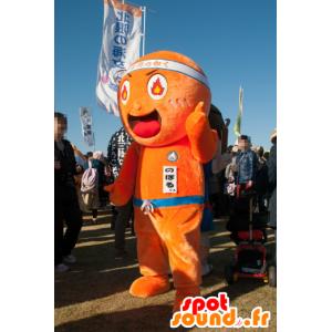 Mascot Noboru oransje mann med flammer i øyet - MASFR26751 - Yuru-Chara japanske Mascots
