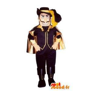 Mascotte de mousquetaire en costume noir et doré - MASFR006965 - Mascottes de Soldats