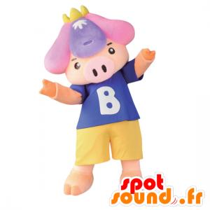 Mascot Shobu, porco cor de rosa, vestindo shorts e uma t-shirt - MASFR26773 - Yuru-Chara Mascotes japoneses
