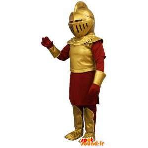 Mascot caballero en armadura roja y dorada