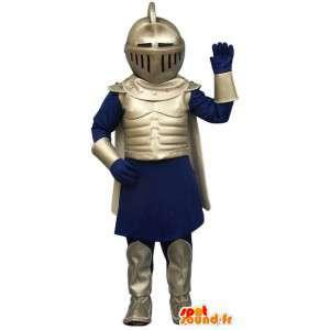 Costume de chevalier en armure bleue et argentée