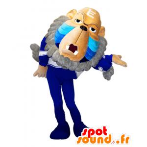 Haya mascotte Taro, vecchia scimmia marrone, blu e grigio - MASFR26888 - Yuru-Chara mascotte giapponese