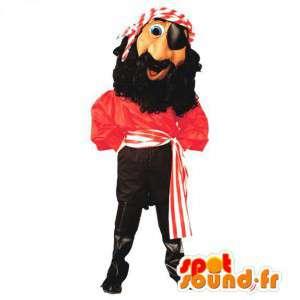 Pirate Mascot trzyma czerwony i czarny, bardzo oryginalny