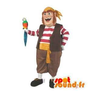 Kleurrijke piraat mascotte. schuim piraatkostuum