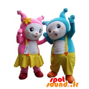 Mascotte Yoppi e Pip, 2 rosa e blu conigli - MASFR26932 - Yuru-Chara mascotte giapponese