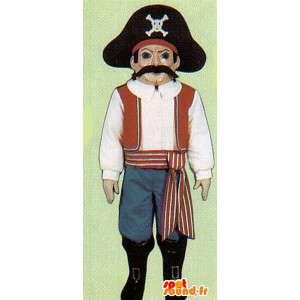 Piratmaskot med sin store hat - Spotsound maskot kostume