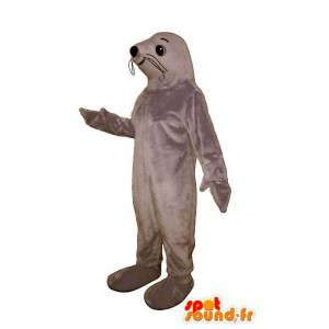 Gray lion mascot. Costume gray seal - MASFR006988 - Mascots seal