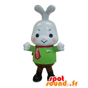 Mascotte Yazupyo coniglio bianco con agitata con un maglione verde - MASFR26966 - Yuru-Chara mascotte giapponese