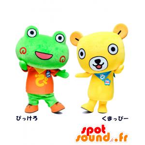 Mascotte Pikkero e Ku Mappy, una rana e un orso - MASFR27057 - Yuru-Chara mascotte giapponese