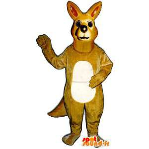 Gelbe Känguru-Maskottchen beige sehr realistisch - MASFR006998 - Känguru-Maskottchen