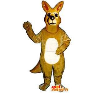 Mascotte de kangourou jaune beige, très réaliste