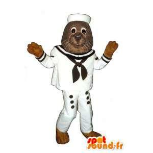 La mascota del león marino vestido como un marinero.Traje de marinero