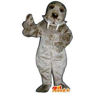 Mascot walrus cinza, doce e peludo