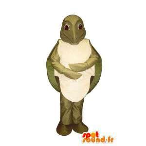 Vihreä ja valkoinen kilpikonna maskotti